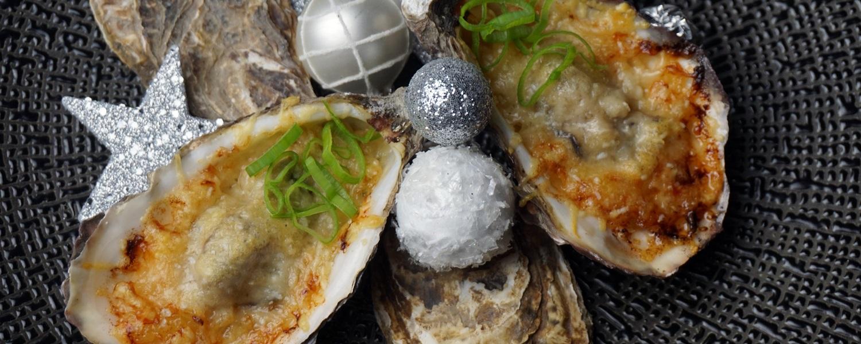 Gratinierte Austern auf Rahm-Sauerkraut